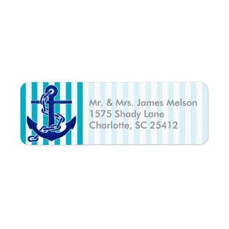 Nautical Blue Anchor Label