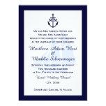 Nautical Blue Anchor Monogram Wedding Invitations