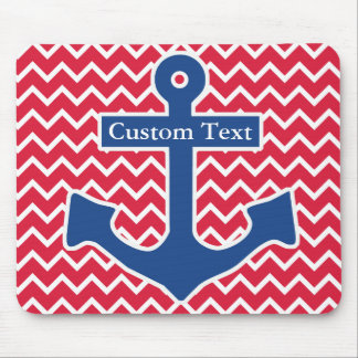 Nautical Blue Anchor on Red Chevron Background Mouse Pad
