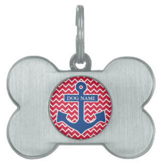 Nautical Blue Anchor on Red Chevron Background Pet Name Tag