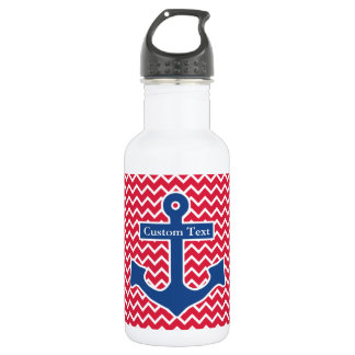Nautical Blue Anchor on Red Chevron Background Stainless Steel Water Bottle