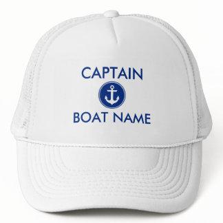 Nautical Blue Anchor Personalize Boat Captain Hat