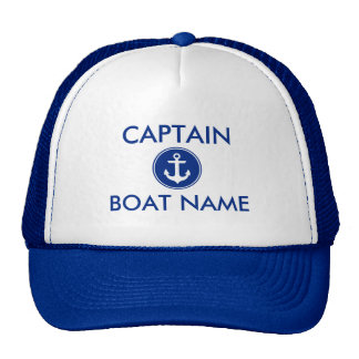 Nautical Blue Anchor Personalized Boat Captain Hat