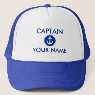 Nautical Blue Anchor Personalized Captain Hat