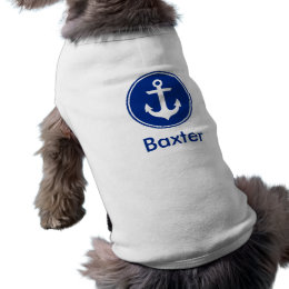 Nautical Blue Anchor Personalized Dog Shirt