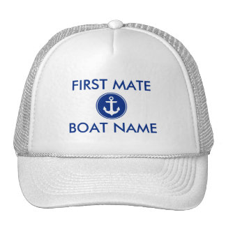 Nautical Blue Anchor Personalized First Mate Hat W