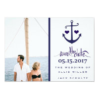 Nautical Blue Anchor Photo Wedding Save the Dates Card