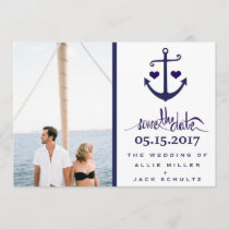 Nautical Blue Anchor Photo Wedding Save the Dates Save The Date