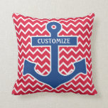 Nautical Blue Anchor Pillow