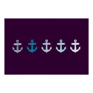 Nautical Blue Anchor poster - Dark Purple