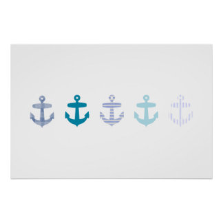 Nautical Blue Anchor poster - white