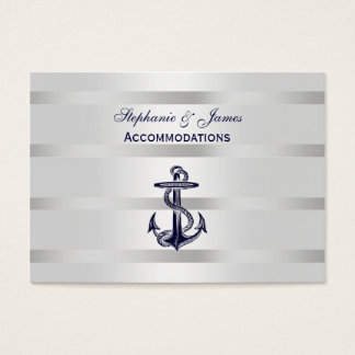 Nautical Blue Anchor Silver Wt BG Accommodations Business Card