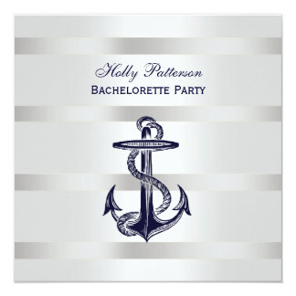"Nautical Blue Anchor Silver Wt BG SQ Bachelorette 5.25"" Square Invitation Card"