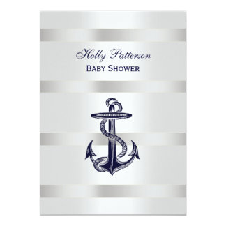 Nautical Blue Anchor Silver Wt BG V Baby Shower 5x7 Paper Invitation Card
