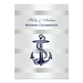 Nautical Blue Anchor Silver Wt BG V Wedding 5x7 Paper Invitation Card