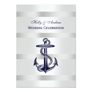 Nautical Blue Anchor Silver Wt BG V Wedding Card