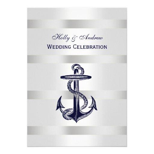Nautical Blue Anchor Silver Wt BG V Wedding Custom Invite
