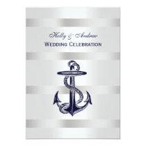 Nautical Blue Anchor Silver Wt BG V Wedding Invitation