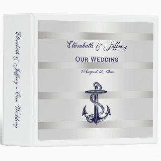 Nautical Blue Anchor Silver Wt BG Wedding Binder