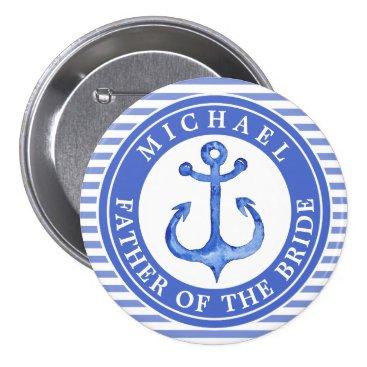 Beach Themed Nautical Blue Anchor Striped Wedding Party Button