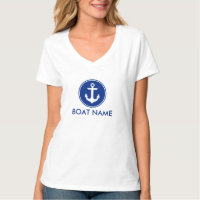 Nautical Blue Anchor Your Boat Name T-Shirt V-Neck