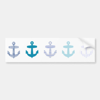 Nautical Blue Anchors Design Car Bumper Sticker