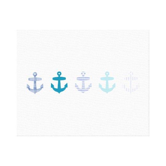 Nautical Blue Anchors Design Canvas Print