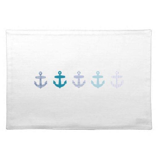 Nautical Blue Anchors Design Cloth Placemat