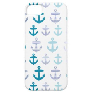 Nautical Blue Anchors Design iPhone 5 Cases