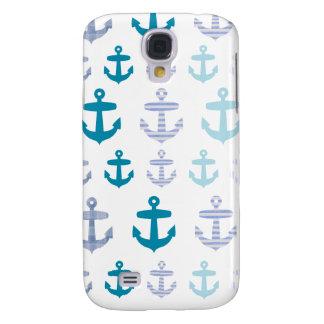 Nautical Blue Anchors Design Samsung Galaxy S4 Case