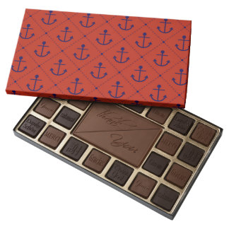 Nautical Blue Anchors on Red Assorted Chocolates