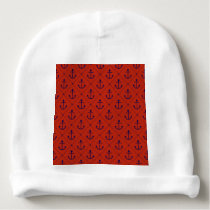 Nautical Blue Anchors on Red Baby Beanie