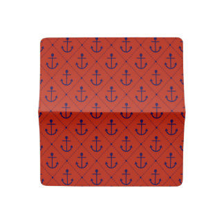 Nautical Blue Anchors on Red Checkbook Cover