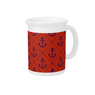 Nautical Blue Anchors on Red Drink Pitcher