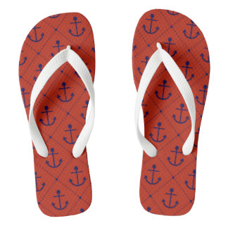 Nautical Blue Anchors on Red Flip Flops