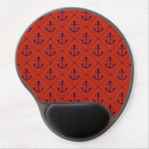 Nautical Blue Anchors on Red Gel Mouse Pad