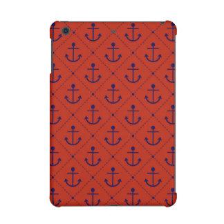 Nautical Blue Anchors on Red iPad Mini Retina Case