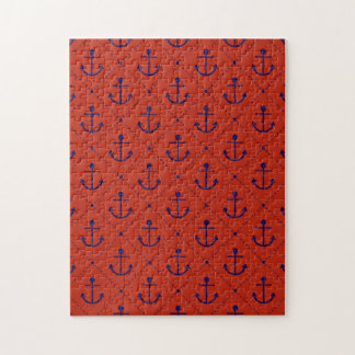 Nautical Blue Anchors on Red Jigsaw Puzzle