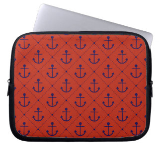 Nautical Blue Anchors on Red Laptop Sleeve