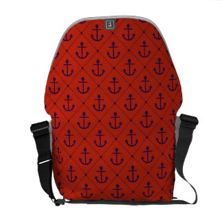 Nautical Blue Anchors on Red Messenger Bag