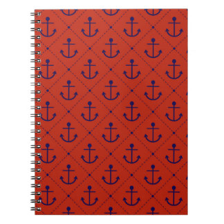Nautical Blue Anchors on Red Notebook