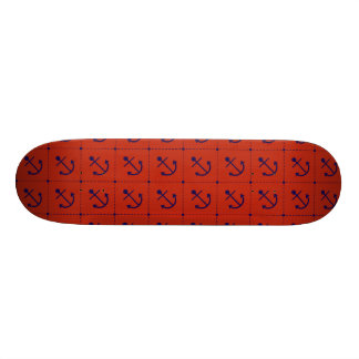 Nautical Blue Anchors on Red Skateboard Deck