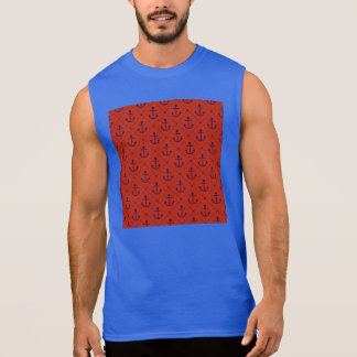 Nautical Blue Anchors on Red Sleeveless Shirt