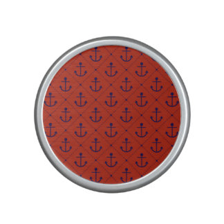 Nautical Blue Anchors on Red Speaker