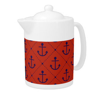 Nautical Blue Anchors on Red Teapot