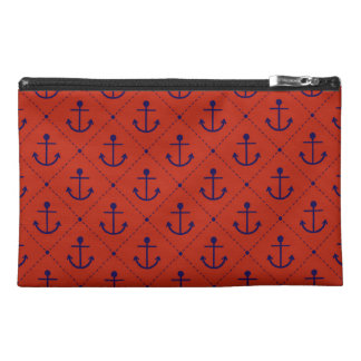 Nautical Blue Anchors on Red Travel Accessories Bags