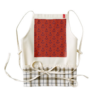 Nautical Blue Anchors on Red Zazzle HEART Apron