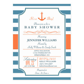 Nautical Blue and Orange Anchor Baby Shower Postcard