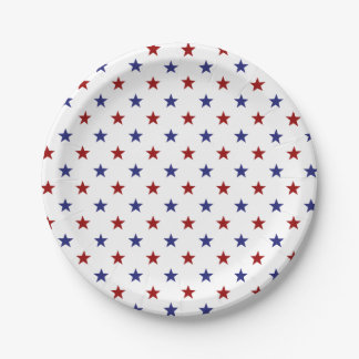 Nautical Blue and Red Stars on White Paper Plate