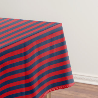 Nautical Blue And Red Stripe Tablecloth